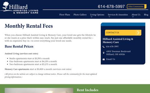 Screenshot of Pricing Page spectrumretirement.com - Monthly Rental Pricing | Hilliard Assisted Living & Memory Care - captured Oct. 23, 2018