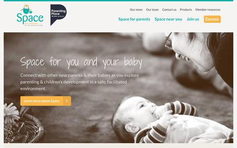 Screenshot of Home Page space.org.nz - Welcome to SPACE - a support programme for first time parents and babies - captured Oct. 1, 2018