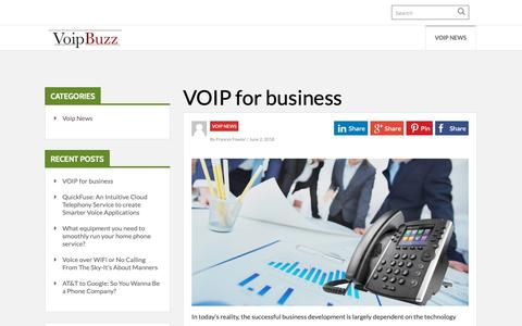 Screenshot of Home Page voip-buzz.com - VOIP-BUZZ: Busineess, VOIP, Telecom & Tech Blog - captured Nov. 29, 2018
