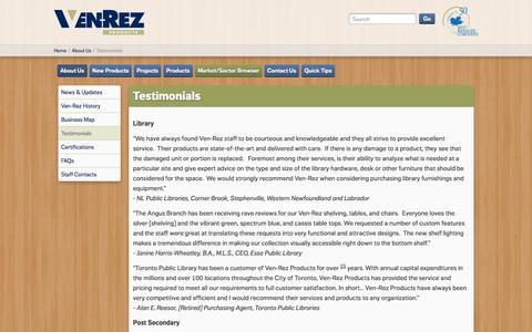 Screenshot of Testimonials Page ven-rez.com - Testimonials | Ven Rez | Ven-Rez - captured Oct. 26, 2014