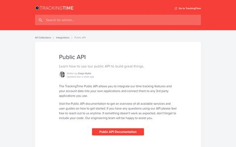 Screenshot of Developers Page trackingtime.co - Public API | Help Center - captured July 2, 2019