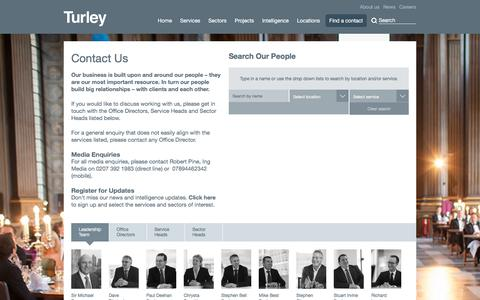 Screenshot of Contact Page Team Page turley.co.uk - Turley Contacts | Turley - captured Nov. 12, 2017
