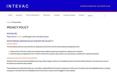 Screenshot of Privacy Page intevac.com - Privacy Policy - Intevac - captured Sept. 19, 2018