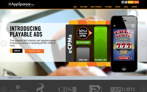 Screenshot of Support Page appsponsor.com - AppSponsor || Home - captured Oct. 4, 2014