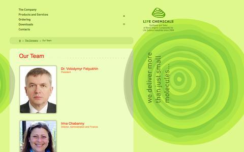 Screenshot of Team Page lifechemicals.com - Our Team - Life Chemicals - captured Sept. 30, 2014