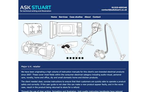 Screenshot of Case Studies Page askstuart.co.uk - Ask Stuart is a technical writing and illustration business based in Cambridgeshire in the U.K. - captured July 30, 2018