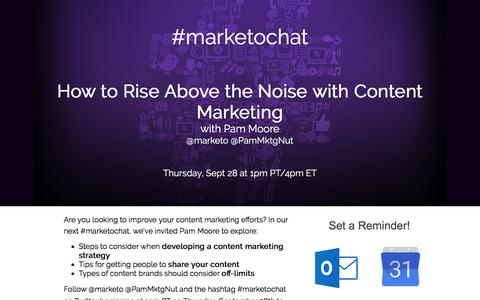 Screenshot of Landing Page marketo.com - #MarketoChat: How to Rise Above the Noise with Content Marketing - captured Sept. 23, 2017
