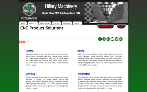 Screenshot of Products Page hillaryinc.com - CNC Machines by Type | Hillary Machinery - captured Nov. 9, 2016
