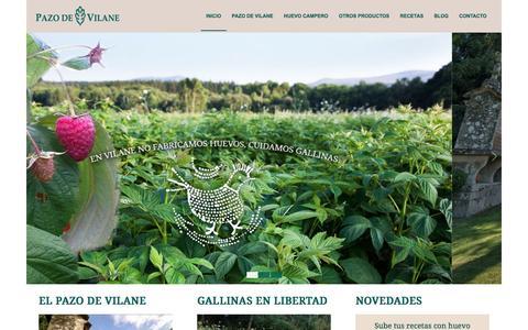 Screenshot of Home Page pazodevilane.com - Gallinas camperas, huevos camperos de Galicia | Pazo de Vilane - captured July 11, 2016