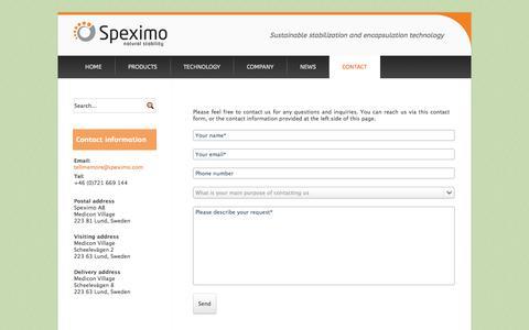 Screenshot of Contact Page speximo.com - Contact - captured Oct. 6, 2014