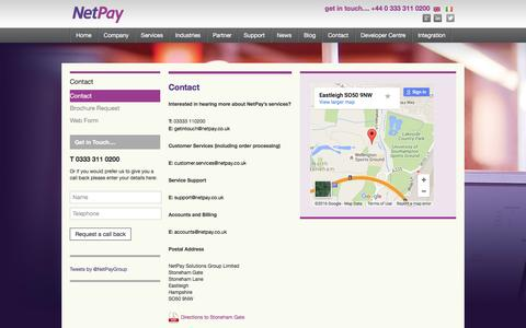 Screenshot of Contact Page netpay.co.uk - NetPay – Wholesale, Reseller and Corporate card payment solutions - captured Feb. 17, 2016