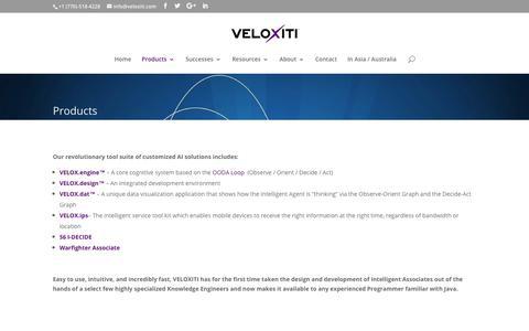 Screenshot of Products Page veloxiti.com - Products - AI solutions - Veloxiti, Inc. - Alpharetta, Georgia - captured Oct. 26, 2017