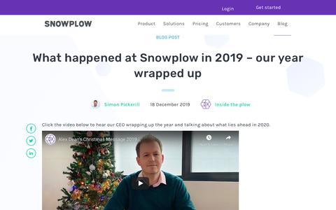 Screenshot of Blog snowplowanalytics.com - What happened at Snowplow in 2019 – our year wrapped up - captured Feb. 10, 2020