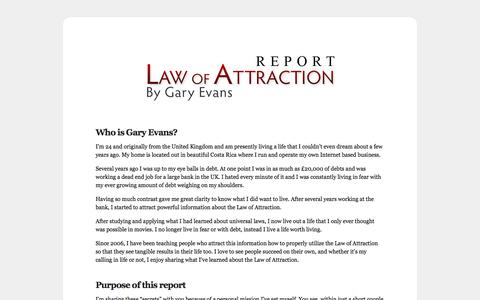 Screenshot of Home Page loareport.com - Law of Attraction Report - captured June 14, 2016