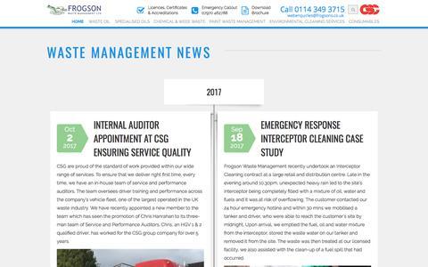 Screenshot of Press Page frogsons.co.uk - Waste Management News | Frogson - captured Oct. 14, 2017
