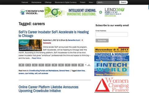 Screenshot of Jobs Page crowdfundinsider.com - careers Archives   Crowdfund Insider - captured Sept. 6, 2017
