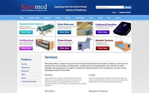 Screenshot of Services Page karomed.com - Karomed offer a wide range of services - captured Oct. 6, 2014