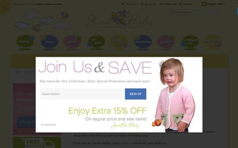 Screenshot of Support Page junebeebaby.com - Eco-friendly Baby Clothing - Customer Service - captured Nov. 27, 2016