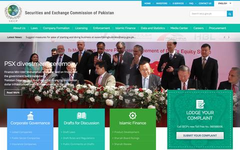 Screenshot of Home Page secp.gov.pk - Securities & Exchange Commission of Pakistan (SECP) - captured May 25, 2017