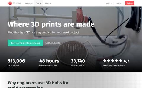 Screenshot of Home Page 3dhubs.com - 3D Hubs: Find local 3D printing services online - captured July 23, 2016