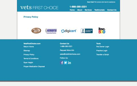 Screenshot of Privacy Page vetsfirstchoice.com - Privacy Policy | Vets First Choice  |  Your Pharmacy. Your Clients. Your Success. - captured Sept. 15, 2014