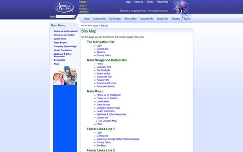 Screenshot of Site Map Page omegaalpha.ca - Omega Alpha Pharmaceuticals - Site Map - captured Oct. 26, 2014