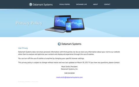 Screenshot of Privacy Page datamarksystems.com - Datamark Systems Privacy Policy - captured Oct. 12, 2017