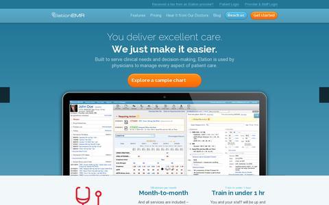 Screenshot of Home Page elationemr.com - Elation EMR Electronic Medical Records - captured July 11, 2014
