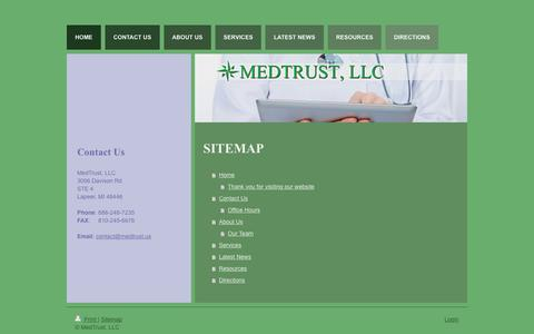 Screenshot of Site Map Page medtrust.us - MedTrust, LLC | Medical Billing & Consulting | Michigan - captured Feb. 12, 2016