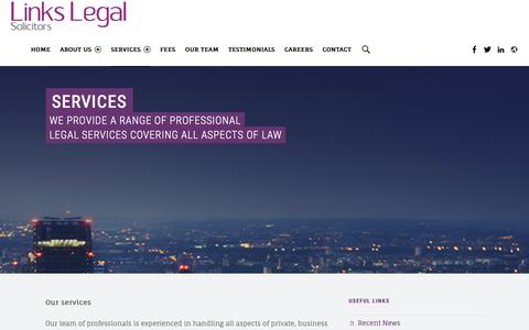 Screenshot of Services Page linkslegal.co.uk - Services – Legal Services London, Links Legal - captured Dec. 15, 2018