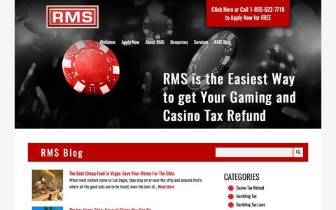Screenshot of Blog refundmanagement.com - RMS Blog | Travel, Gaming, & Gambling Tax Tips | 1 - captured Nov. 7, 2017