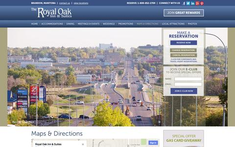 Screenshot of Maps & Directions Page royaloakinn.com - Brandon Manitoba Hotel – Royal Oak Inn Brandon Manitoba Hotel - captured Oct. 3, 2014