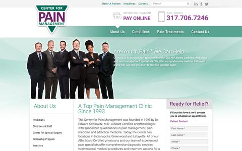 Screenshot of About Page indypain.com - Indianapolis Pain Management Clinic | Indy Pain Clinic - captured Nov. 10, 2018
