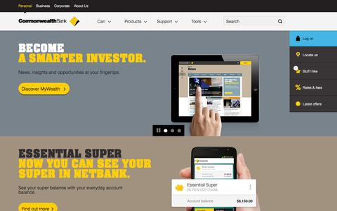 Screenshot of Home Page commbank.com.au - Personal banking including accounts, credit cards and home loans - CommBank - captured Sept. 19, 2014