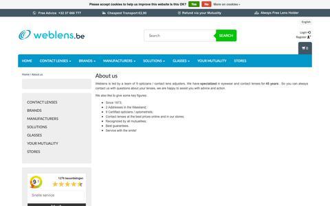 Screenshot of About Page weblens.be - Weblens - About us - Weblens - Your Contactlenses Online ! - captured Nov. 24, 2018