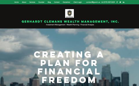 Screenshot of Home Page gcwm.us - Home | Gerhardt Clemans Wealth Management, Inc. - captured July 9, 2018