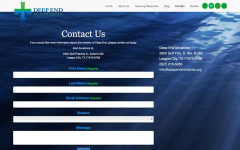 Screenshot of Contact Page deependministries.org - Deep End Ministries :: Contact - captured Jan. 7, 2016