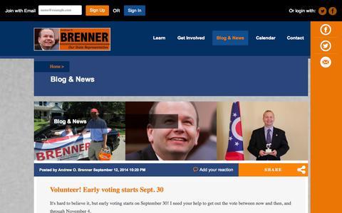 Screenshot of Blog andrewbrenner.com - Blog - State Representative Andrew O. Brenner - captured Oct. 5, 2014