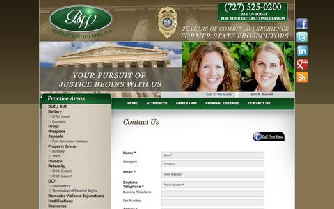 Screenshot of Contact Page barnettwoolums.com - Clearwater Criminal Attorney | Contact Us | Barnett Wolfe Rice, P.A. - captured Oct. 5, 2014