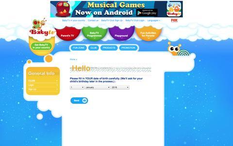 Screenshot of Signup Page babytv.com - BabyTV - Welcome - captured July 27, 2016