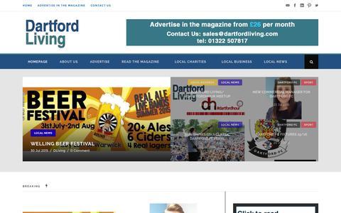 Screenshot of Home Page dartfordliving.net - Dartford Living | A community magazine for Dartford and the surrounding area - captured Aug. 4, 2015