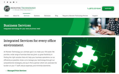 Screenshot of Services Page monstertechnology.net - Business Services Los Angeles | Monster Technology - captured Oct. 20, 2017