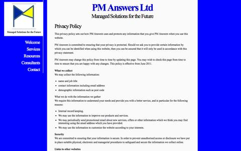 Screenshot of Privacy Page pm-answers.com - PM Answers Ltd - Privacy - captured Oct. 1, 2014