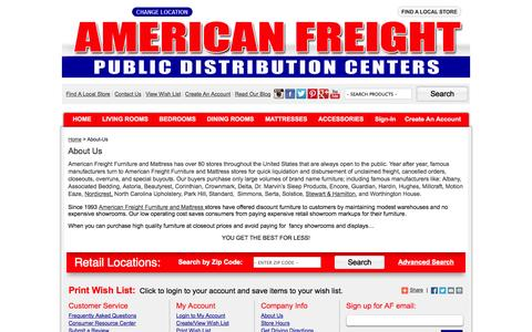 Screenshot of About Page americanfreight.us - About American Freight | American Freight - captured Sept. 25, 2014