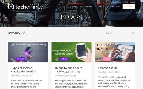 Screenshot of Blog techaffinity.com - Blog – Tag Talks - captured Aug. 17, 2018