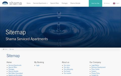 Screenshot of Site Map Page shama.com - Site map - Shama Serviced Apartments - captured Nov. 15, 2017