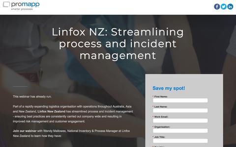 Screenshot of Landing Page promapp.com - Webinar: Linfox NZ: Streamlining process and incident management - captured April 14, 2018