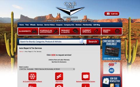 Screenshot of Services Page candrtire.com - Auto Repair & Tire Services C & R Tire - Phoenix, AZ - captured July 5, 2017