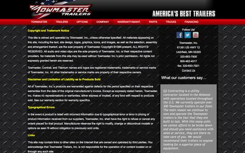 Screenshot of Terms Page towmaster.com - Terms | Towmaster Trailers - captured Feb. 25, 2016