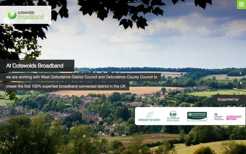 Screenshot of Home Page cotswoldsbroadband.co.uk - Cotswolds Broadband - 100% superfast broadband for West OxfordshireCotswolds Broadband | 100% superfast broadband for West Oxfordshire - captured Sept. 30, 2014